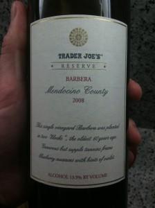 Trader Joe S Reserve 2008 Barbera Mendocino County